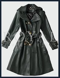 womens stylish lambskin leather trench coat