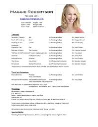 sample acting resume template audition resume format