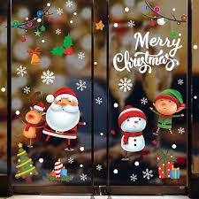 Tuopuda Weihnachten Aufkleber Fenster Schneeflocken Elch Weihnachtsmann Fensterbilder Weihnachten Dekoration Fensteraufkleber Weihnachtsdeko