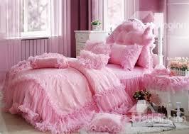 cinderella total lace trim pure color cotton bedding sets duvet cover