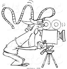 Small Picture Vector of a Cartoon Camera Man with Crazy Film Coloring Page