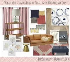 Navy Living Room Coral Navy And Mustard Design Collaboration