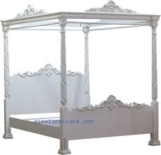 Solid Wooden French Style Antique White Four Poster Canopy Bed - Buy ...