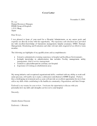 cover letter for hospital administrator resume  cover letter examples