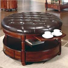 round leather coffee table ottoman coffee table home design black leather within round leather coffee table