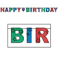 Glittered Happy Birthday Streamer