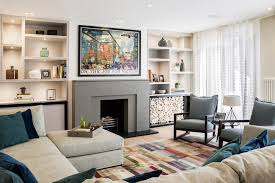 Stylish designs living room Comfortable Contemporary Formal Living Room With Stylish Rug And Builtin Shelves Along With Fireplace Lli Design Home Stratosphere 64 Stylish Modern Living Room Ideas photos