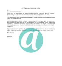 Job Applicant Rejection Letter Anyhows