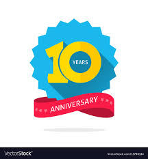 Anniversary Template 10 Years Anniversary Logo Template With Shadow On Vector Image