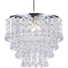 modern and stylish pendant shade with tiers of clear acrylic spheres and beads by happy homewares