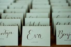10 handwritten calligraphy wedding place cards, escort cards for dinner  party, anniversary or shower