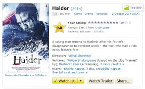 haider is one of the highest rated n films on imdb desimartini haider is one of the highest rated n films on imdb