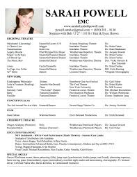 Good Looking Theater Resumes Musical Theatre Resume Examples Example