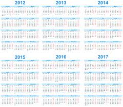 Calendar 2013 Template Set Of 2013 2018 Calendars Template Vector Graphic 02 Free
