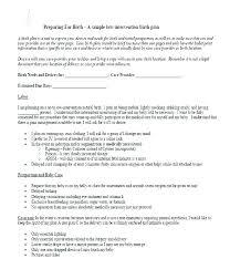 Simple Birth Plan Examples Birth Plan Examples Birth Preferences Template Uk Birth