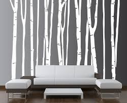 black and white birch tree wall art