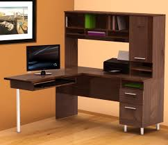 m modern dark brown varnish cherry wood corner office desk with hutch which has open storage and drawers using aluminum base legs with contemporary home cherry wood home office