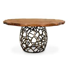contemporary dining table wooden brass round apis