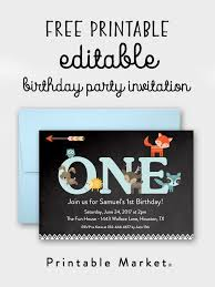 First Birthday Invitations Free Printable Free Editable Chalkboard Woodland Fox Friends 1st Birthday
