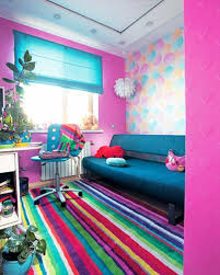 furniture color matching. colorful room decorating with bright contrasts stripped rug pink walls blue home furnishings furniture color matching s