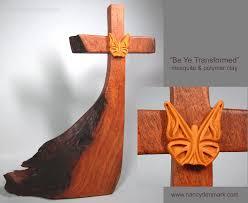 butterfly on wood cross made by Nancy Denmark & Margaret Bailey