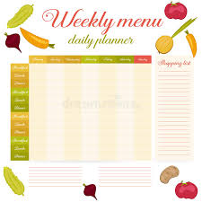 Weekly Menu Cute Vintage Daily Planner Stock Vector - Illustration ...