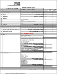 contractor forms templates construction estimating spreadsheet and roofing estimate template