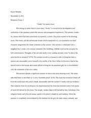 response essay to charlotte perkins the yellow kayla  2 pages response essay to araby by james joyce