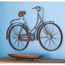 metal bicycle wall decor on metal bike with basket wall decor with bike basket wall decor wayfair