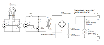 circuit schematic diagram of 15 kv 30 ma diy high voltage power supply by david