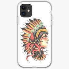 Native American Design Phone Cases Traditional Native American Pin Up Girl Headresstattoo Design Iphone Case Cover