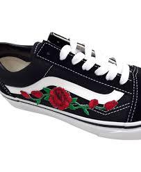 vans roses. vans old skool and roses remix line custom black/white