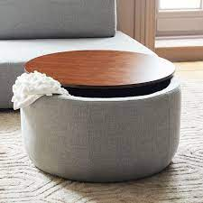large round gray wood storage ottoman table
