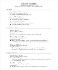 Example Of Medical Curriculum Vitae Student Cv Template School