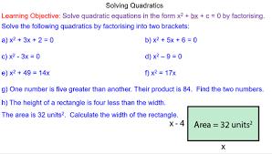solving quadratics by factorising mr