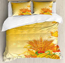 festive collection of vegetables plump pumpkins wheat fall leaves decorative bedding set with pillow shams earth yellow green red by ambesonne