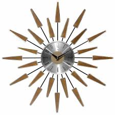 sunburst clock mid century modern wall decor vintage starburst retro metal art 2 2 of 7