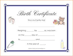 Birth Certificate Template 24 Blank Birth Certificate Template Job Resumes Word 10