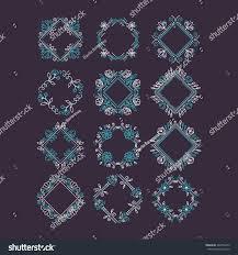 Duterte Logo Design Vector Set Flower Frames Logo Design Stock Vector Royalty