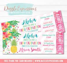Hawaiian Pool Party Invitations Printable Luau Pineapple Graduation Party Ticket Invitation