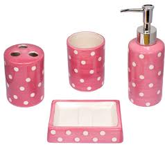 black and pink bathroom accessories. Pink And White Polka Dot Bathroom Set Zazzle Black Accessories