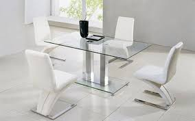 actona glass dining table with 4 designer z chairs in white faux classy luxury