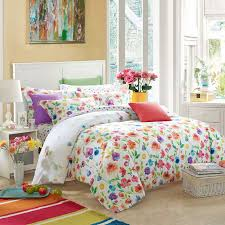 Bright Rainbow Colored Flowers Bedding Set Queen Size King Size ... & Bright Rainbow Colored Flowers Bedding Set Queen Size King Size Soft Cotton  Fabric Quilt Cover Bed Adamdwight.com