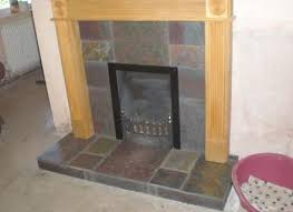 natural slate tiles in fireplace which adhesive
