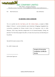 Internship Certificate Letter Format From Company Save Internship