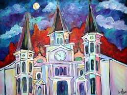 new orleans holiday art st louis cathedral painting church art