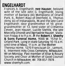 Obituary for Frances A ENGELHARDT - Newspapers.com
