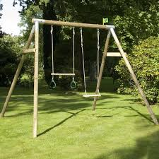 tp knightswood double wooden swing set with wooden tze bar with rings and a wooden swing