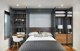 Built-in wall-bed unit, open