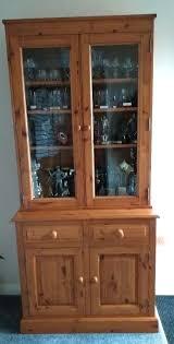 solid rustic pine display cabinet 2 glass doors at top with bottom display cabinets with glass